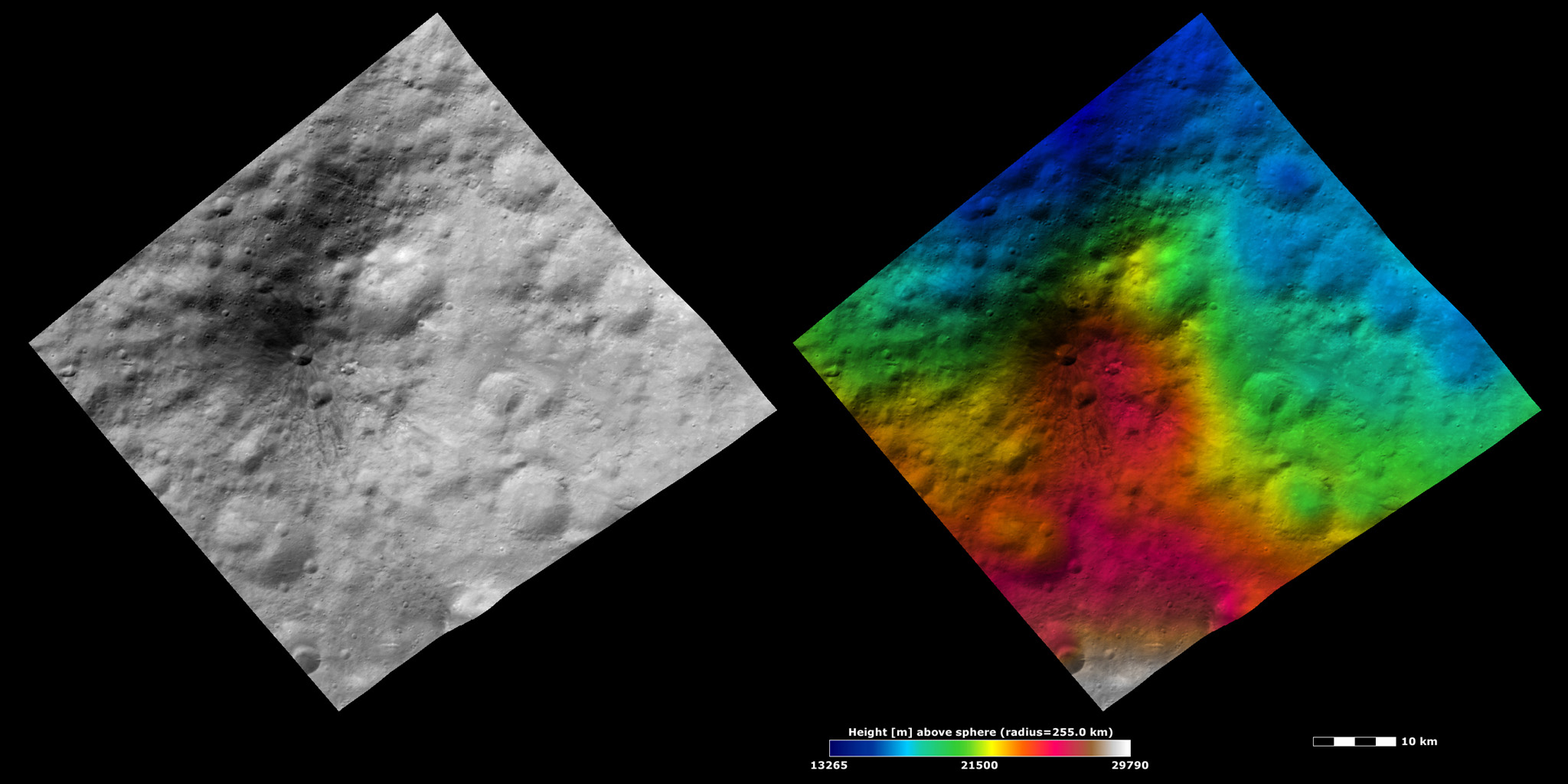 Brightness and Topography Images of a Dark Hill