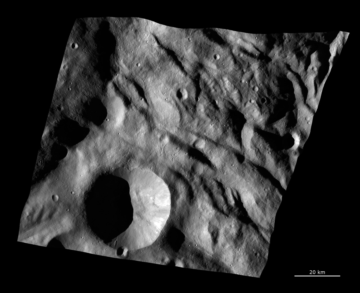 Complex Surface Texture in Vesta's Southern Hemisphere