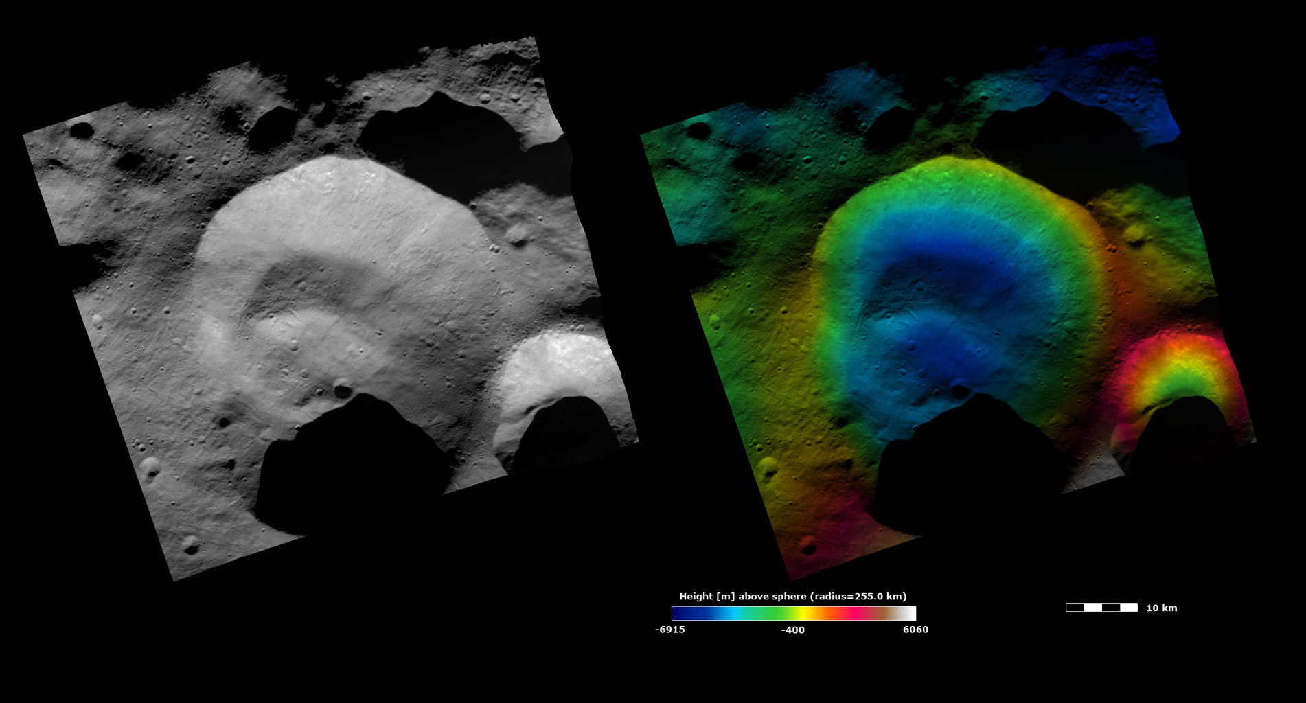 Topography and Albedo Image of Caparronia Crater