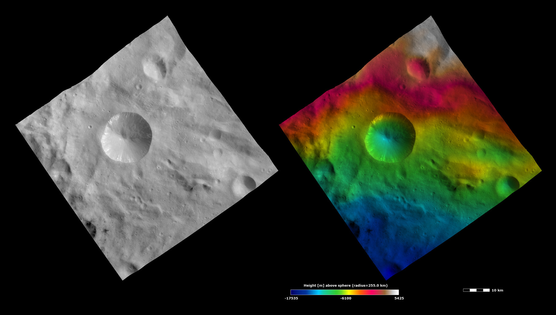 Topography and Albedo Image of Sextilia Crater