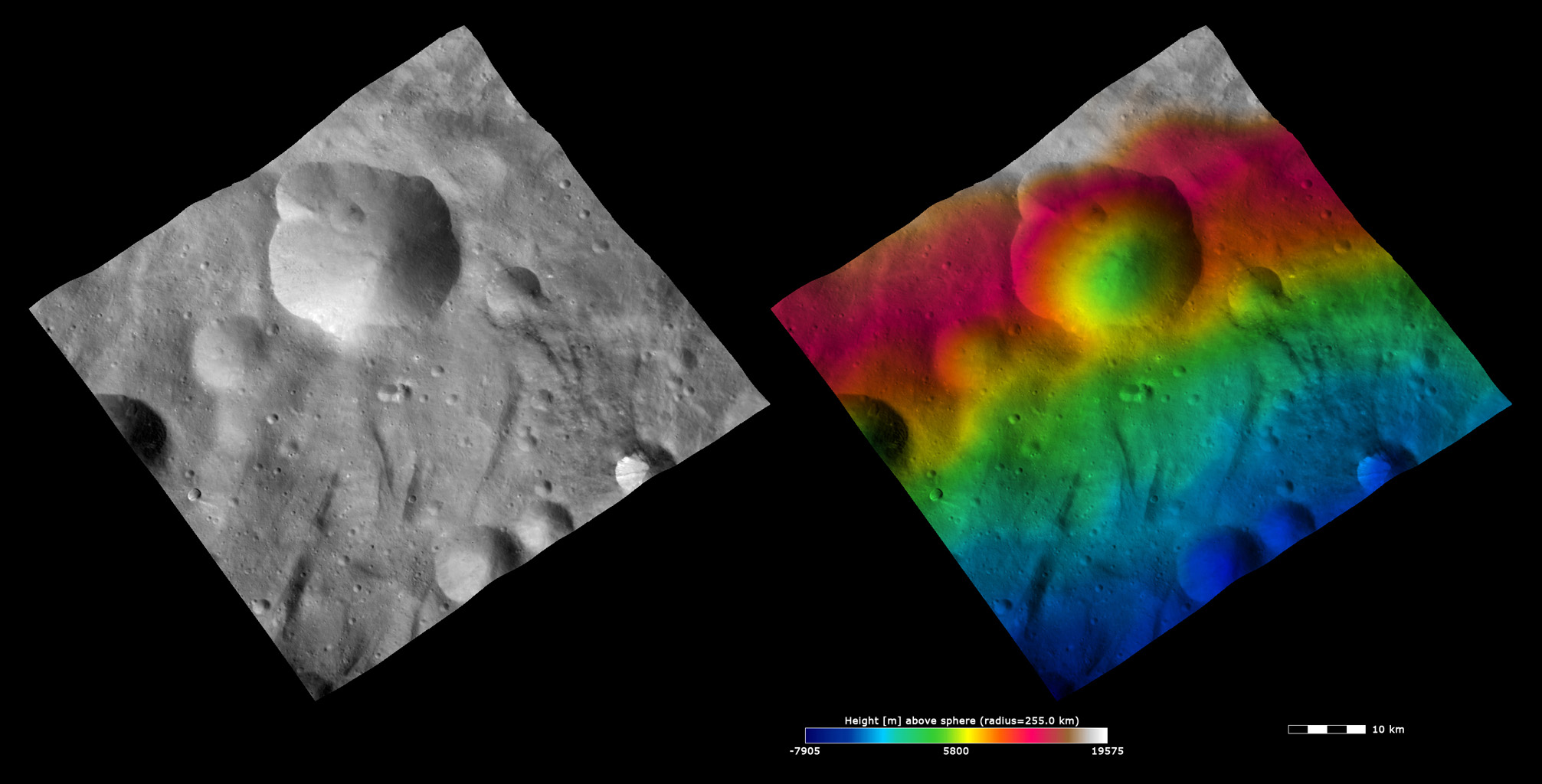 Topography and Albedo Image of Urbinia Crater