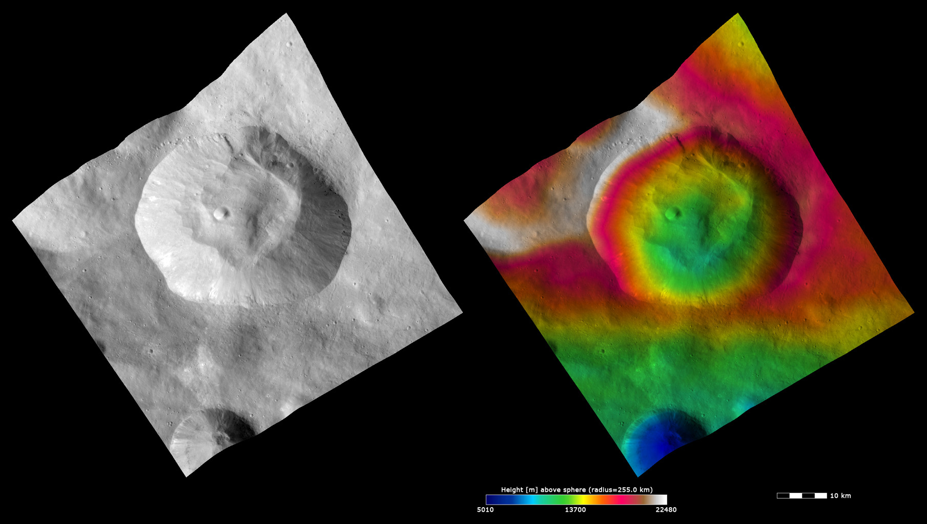 Topography and Albedo Image of Pinaria Crater