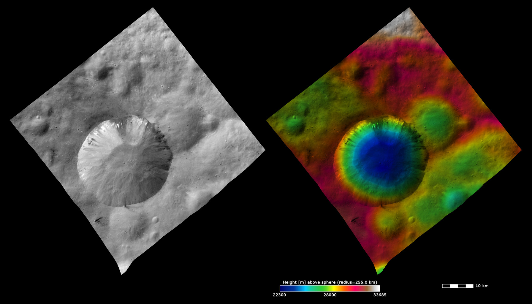 Topography and Albedo Image of Numisia Crater
