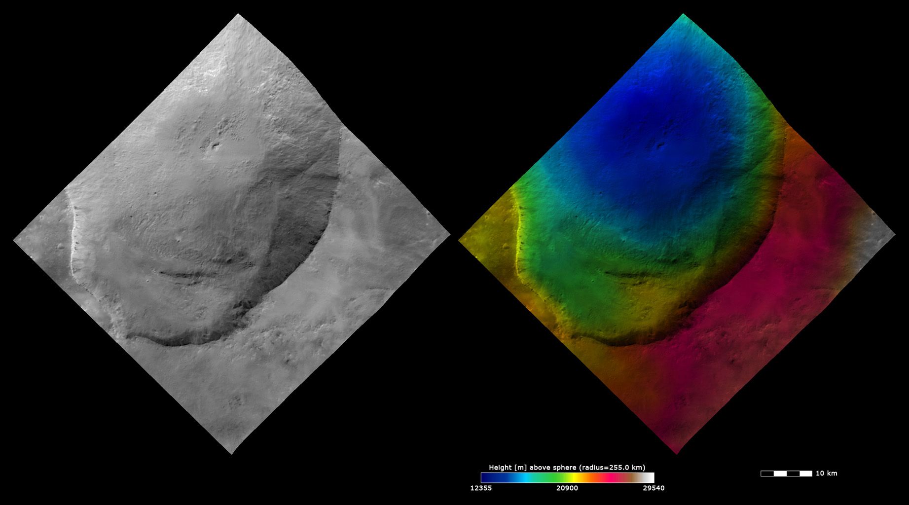 Topography and Albedo Image of Marcia Crater