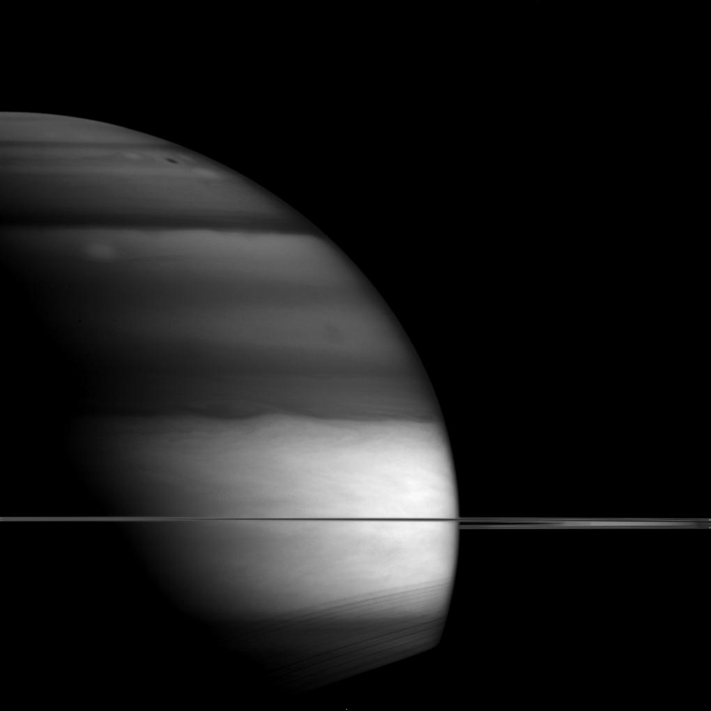 Saturn's unusual appearance in this picture is a result of the planet being imaged via an infrared filter.