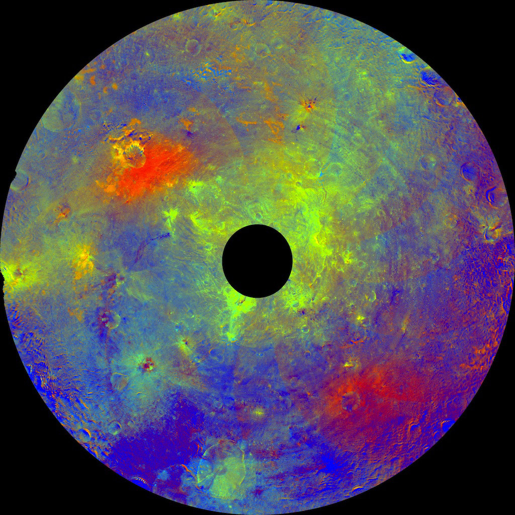 Asteroid Vesta in a 'Rainbow-Colored Palette'