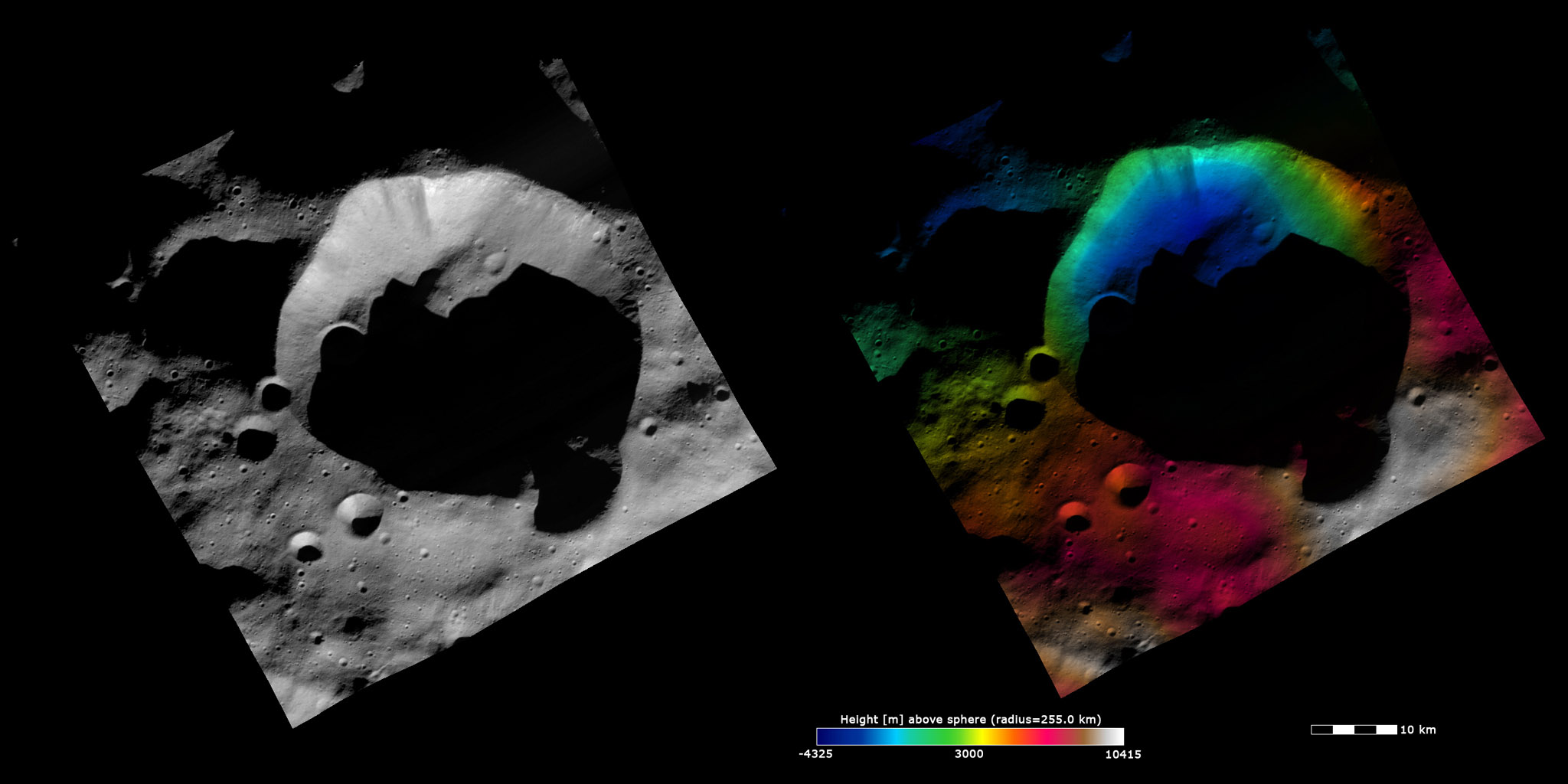 Topography and Albedo Image of Bellicia Crater