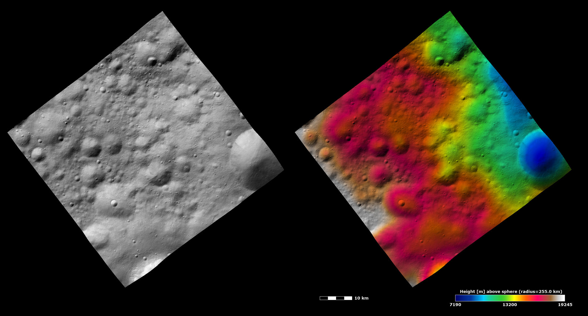 Topography and Albedo Image of Different Preservations States of Craters