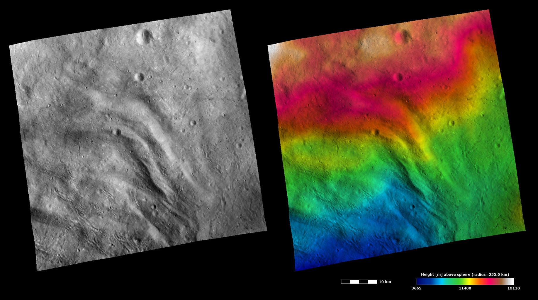 Topography and Albedo Image of Grooved Terrain on Vesta