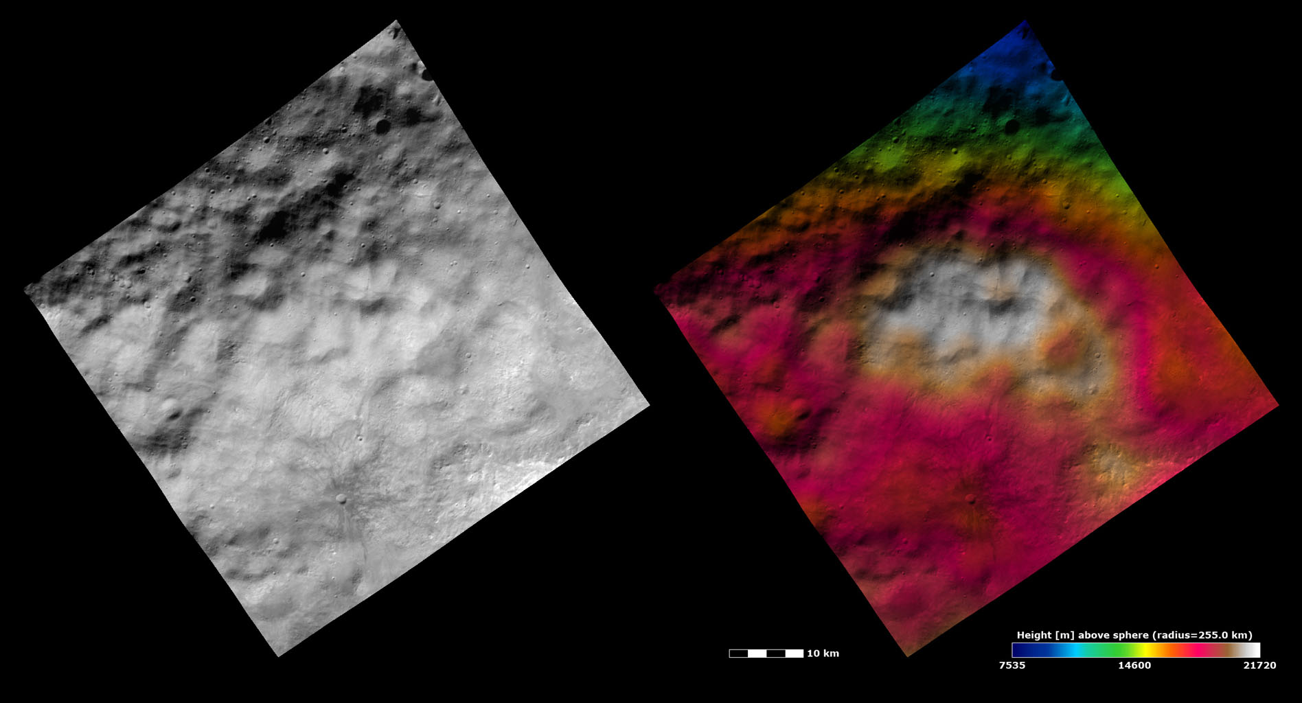 Topography and Albedo Image of Hummocky-mantled Terrain on Vesta