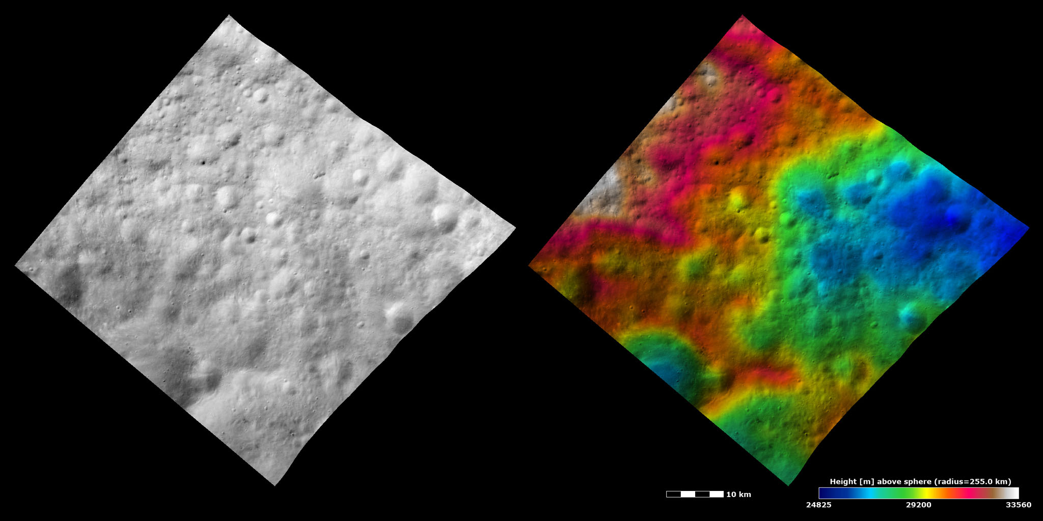 Topography and Albedo Image of Ancient Terrain with Ruined Crater