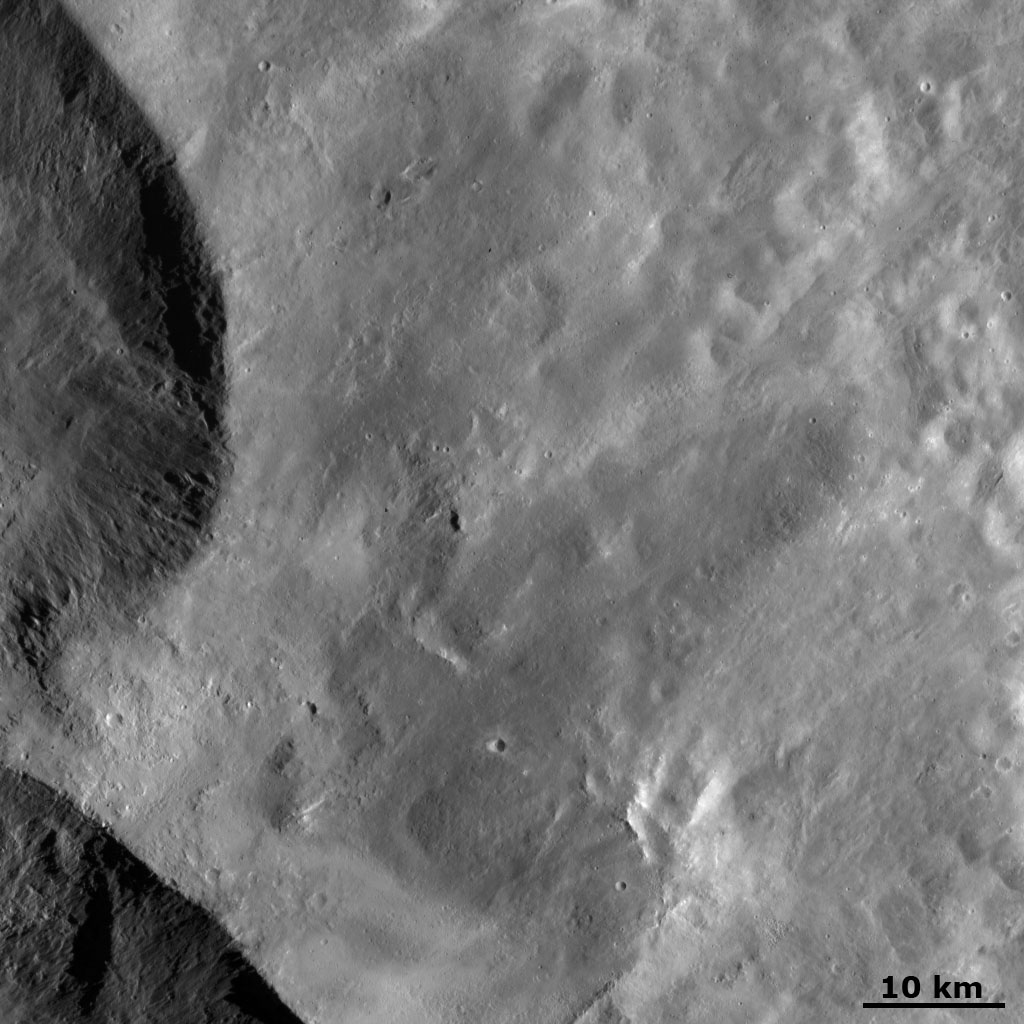 Ejecta from Vesta's 'Snowman' Craters