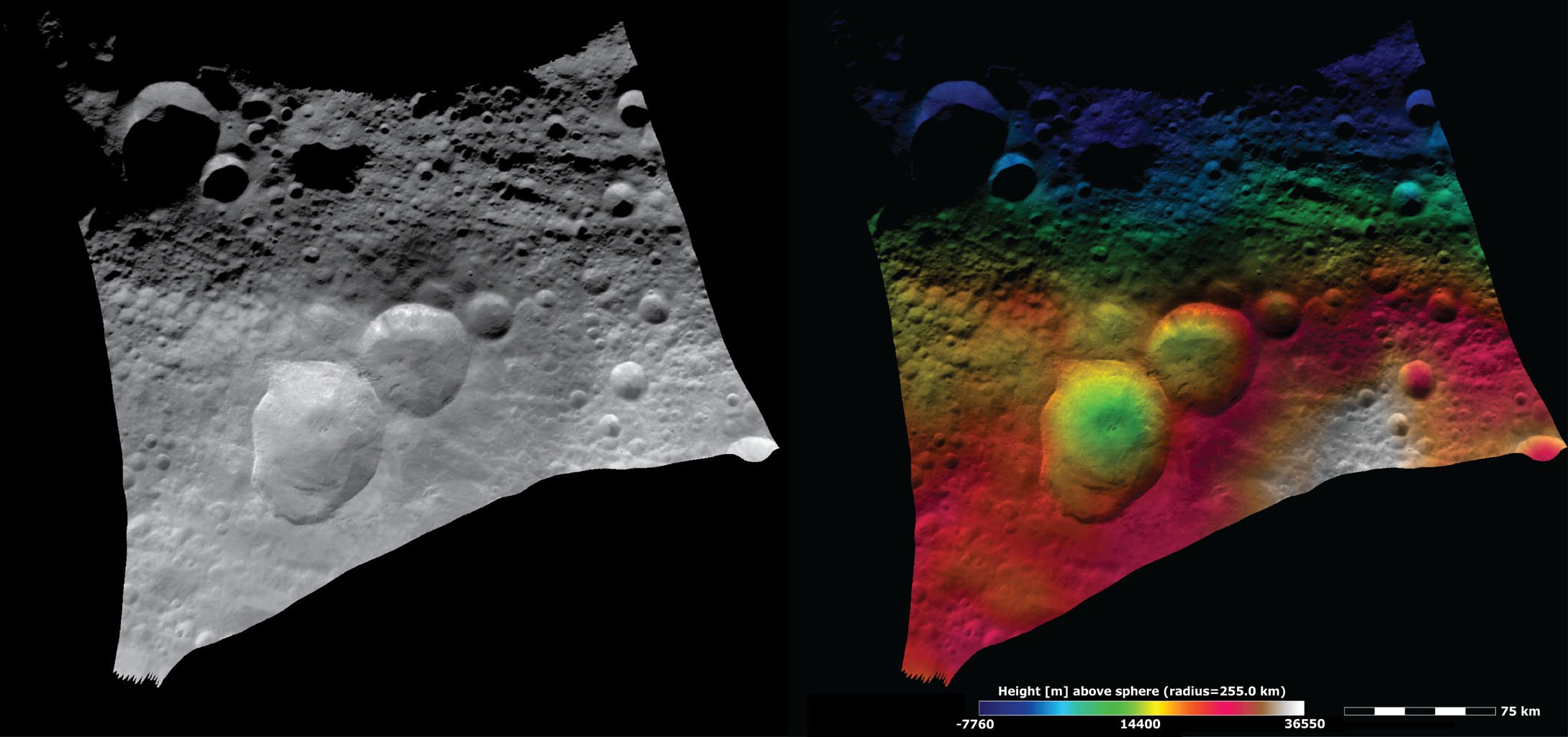 Topography and Albedo Image of Domitia Crater