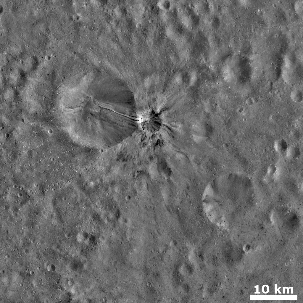 Fresh Crater with Bright and Dark Rays