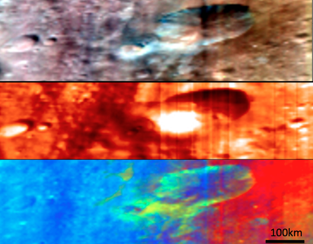 Craters and Ejecta in Visible and Infrared Wavelengths