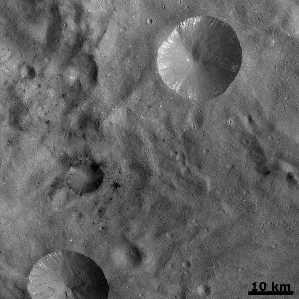 Dark Areas in Cratered Terrain on Vesta