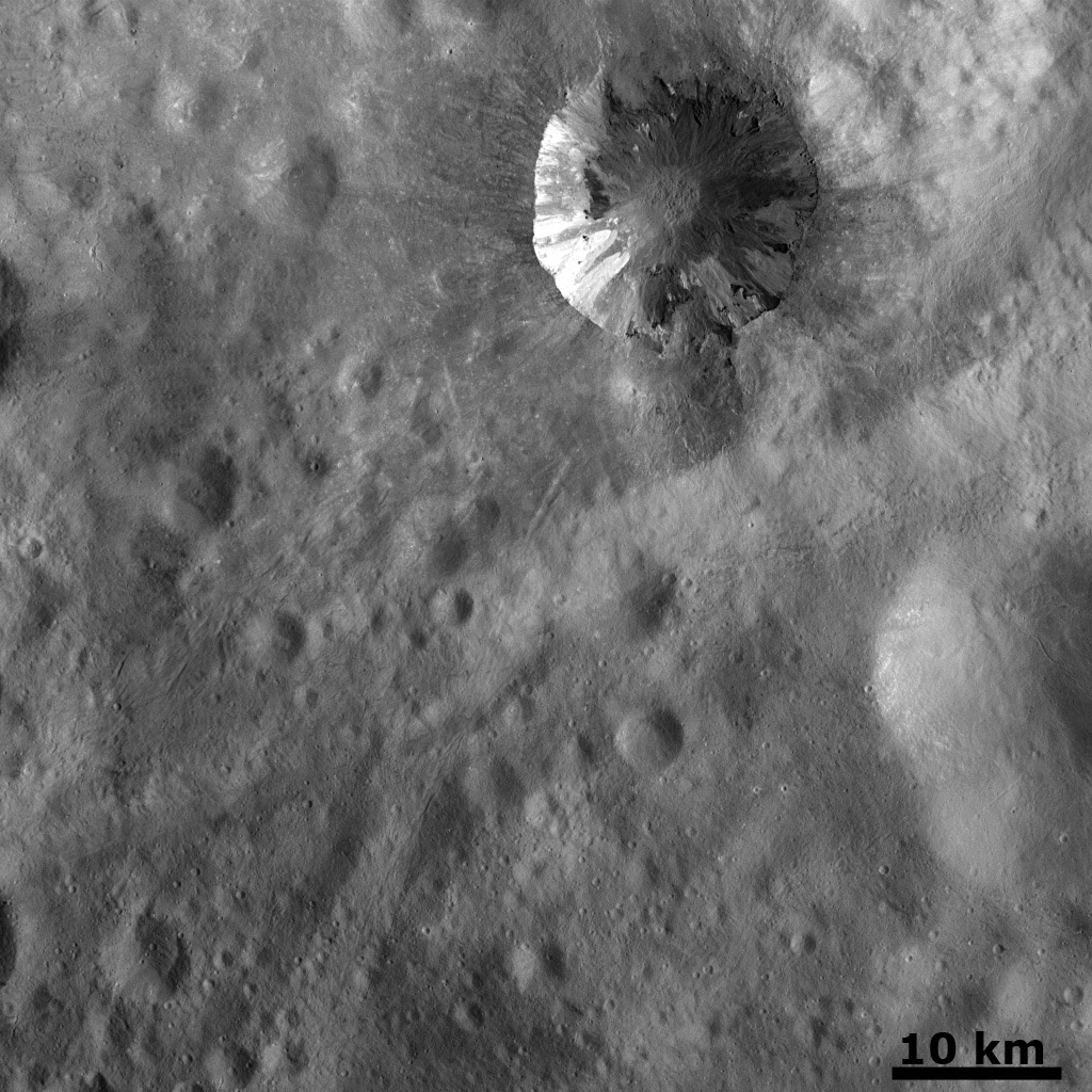 Fresh Crater with Dark and Bright Material