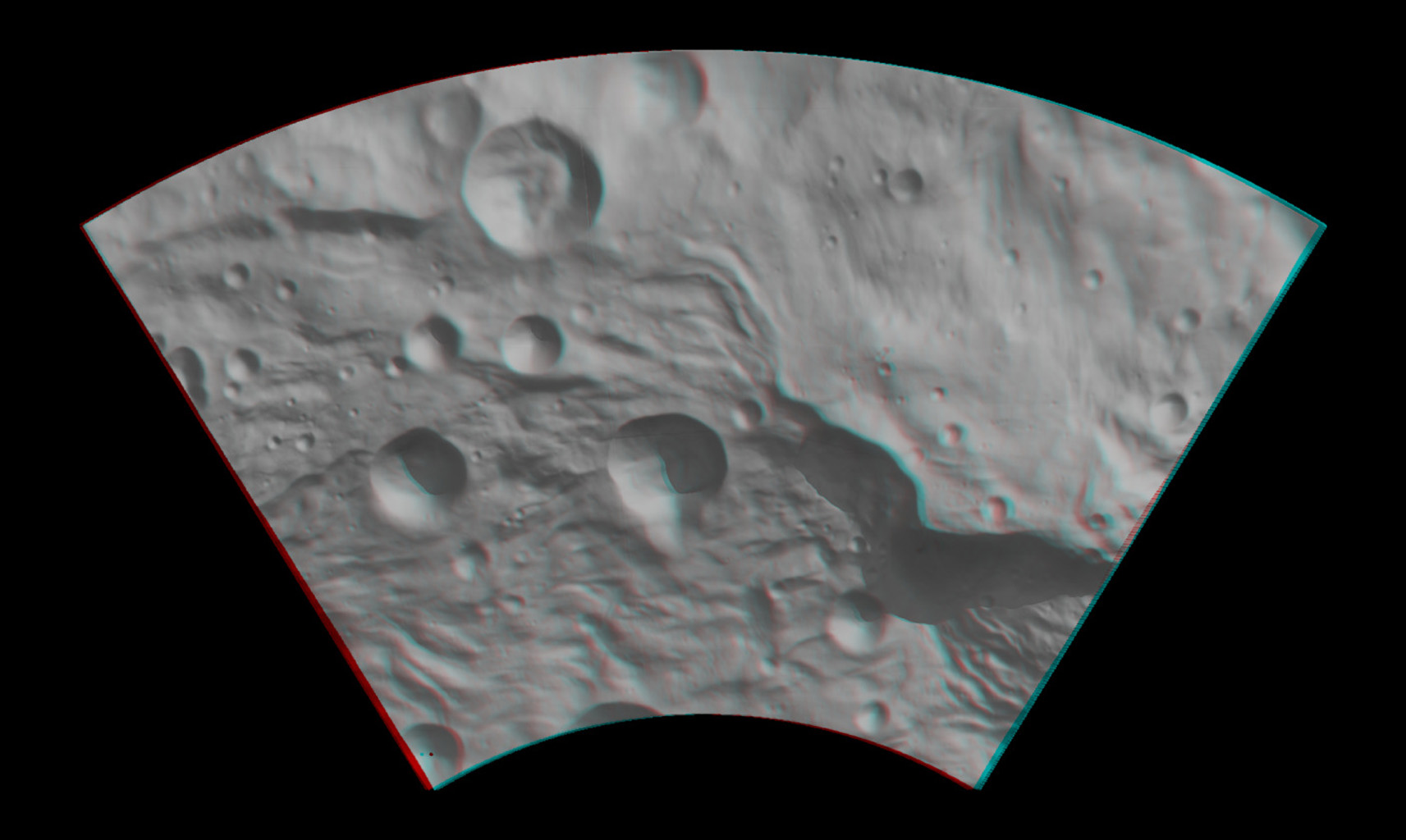 Anaglyph Image of Vesta's Southeastern Latitudes