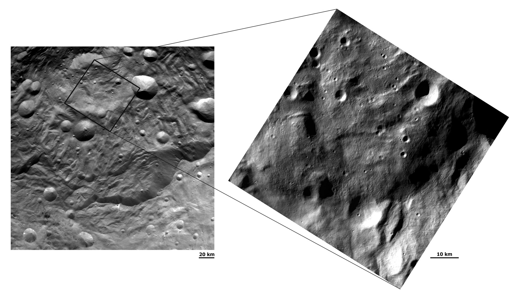 Two Different Resolution Images of Vesta's South Polar Region