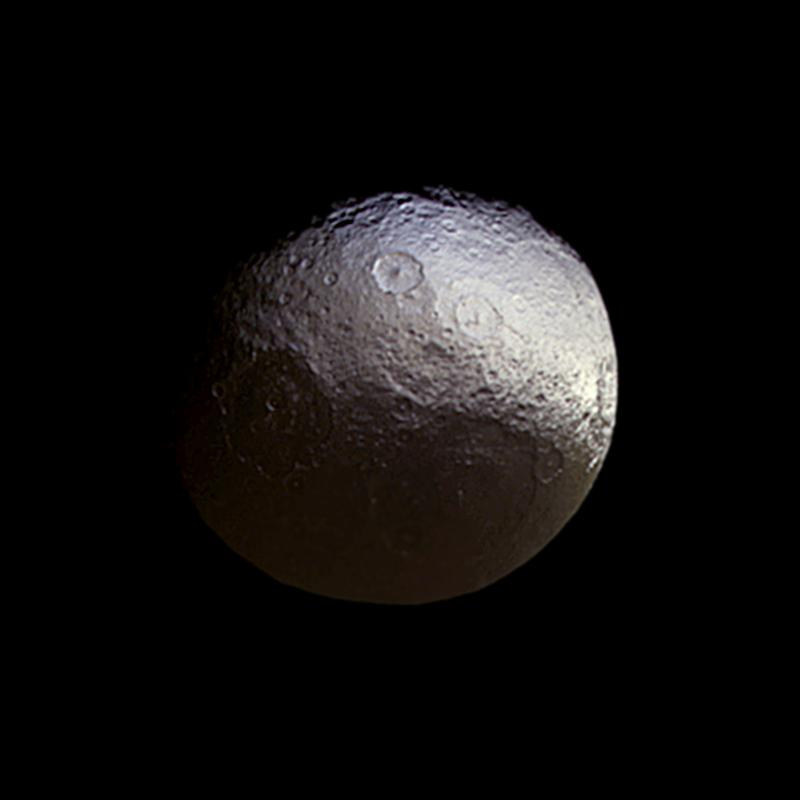 Cassini stared toward Saturn's two-toned moon Iapetus (914 miles or 1,471 kilometers across) for about a week in early 2015, in a campaign motivated in part to investigate subtle color differences within the moon's bright terrain.