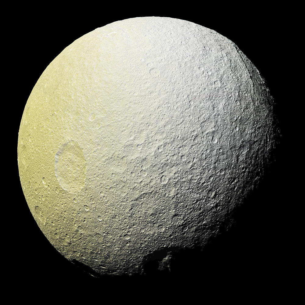This enhanced-color mosaic of Saturn's icy moon Tethys shows a range of features on the moon's trailing hemisphere.