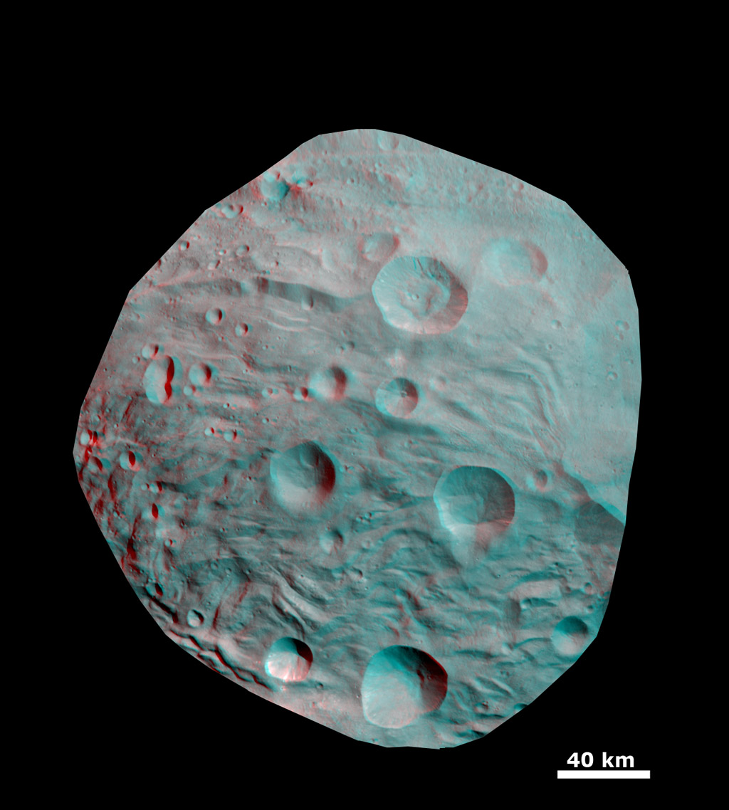 Anaglyph of Craters in the South Polar Region