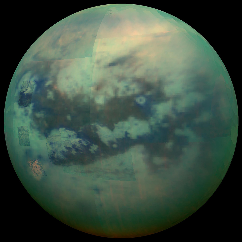 "This composite image shows an infrared view of Saturn's moon Titan from NASA's Cassini spacecraft, acquired during the mission's ""T-114"" flyby on Nov. 13, 2015."