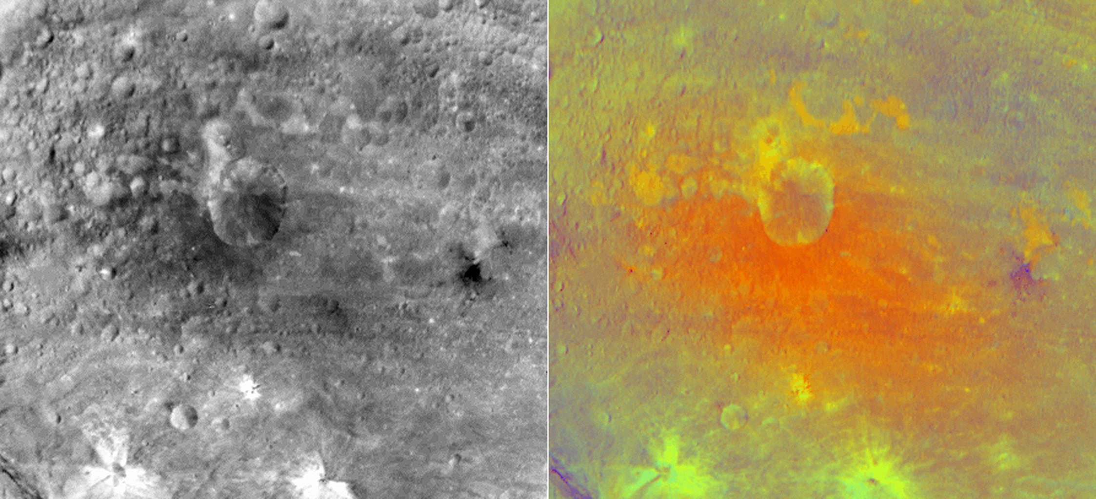 False-Color Image of an Impact Crater on Vesta