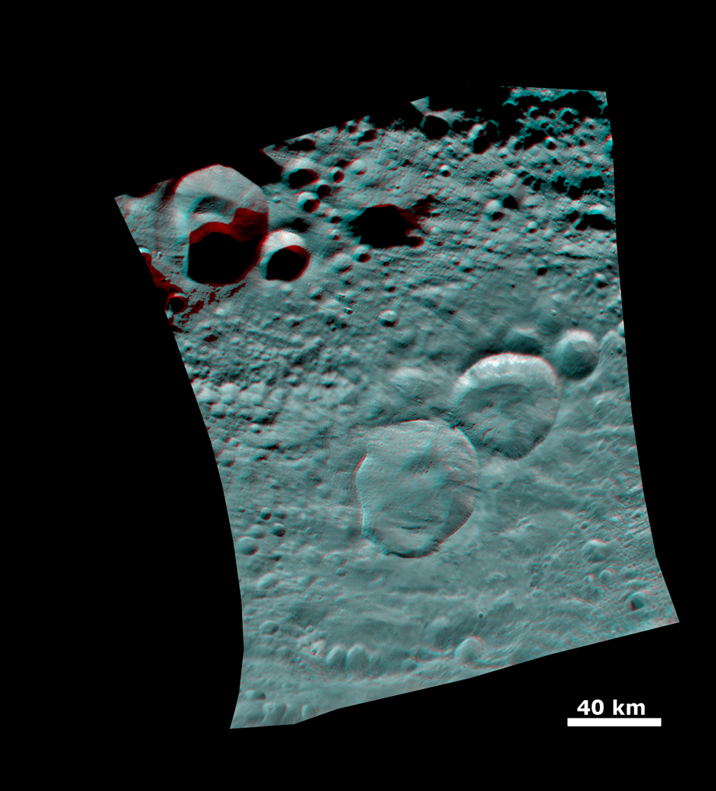 Anaglyph of the 'Snowman' Crater