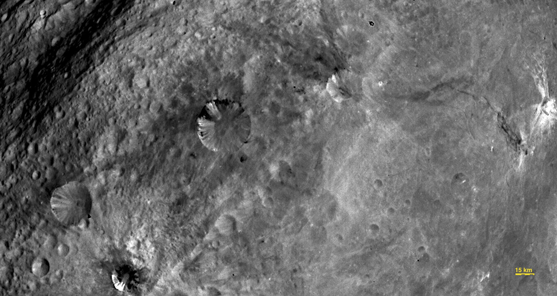 Close-up View of Craters in South Equatorial Region