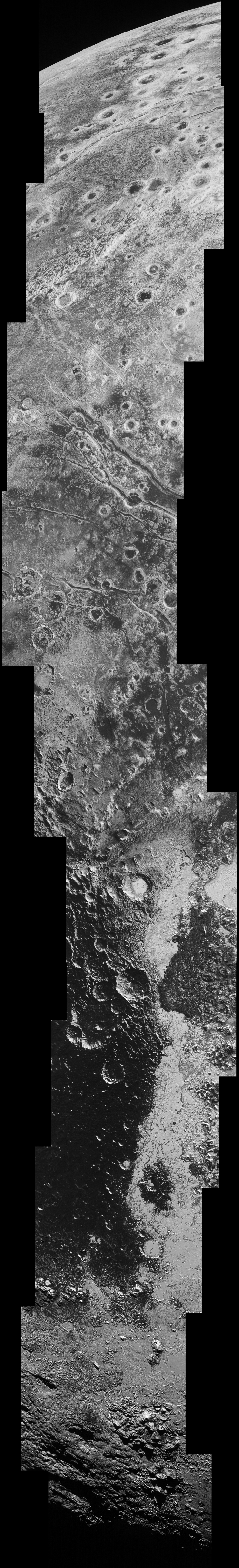 This high-resolution swath of Pluto (right) sweeps over the cratered plains at the west of the New Horizons' encounter hemisphere and across numerous prominent faults, skimming the eastern margin of the dark, forbidding region informally known as Cthulhu Regio, and finally passing over the mysterious, possibly cryovolcanic edifice Wright Mons, before reaching the terminator or day-night line.