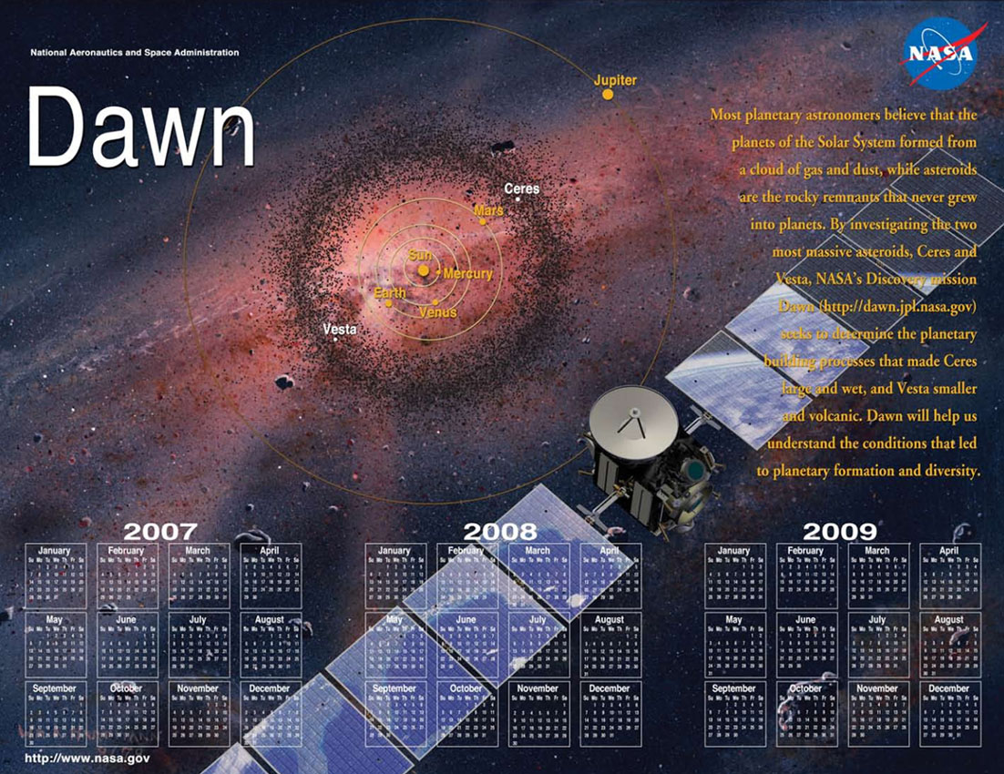 Dawn 2007-2012 Double-sided Mission Events Calendar