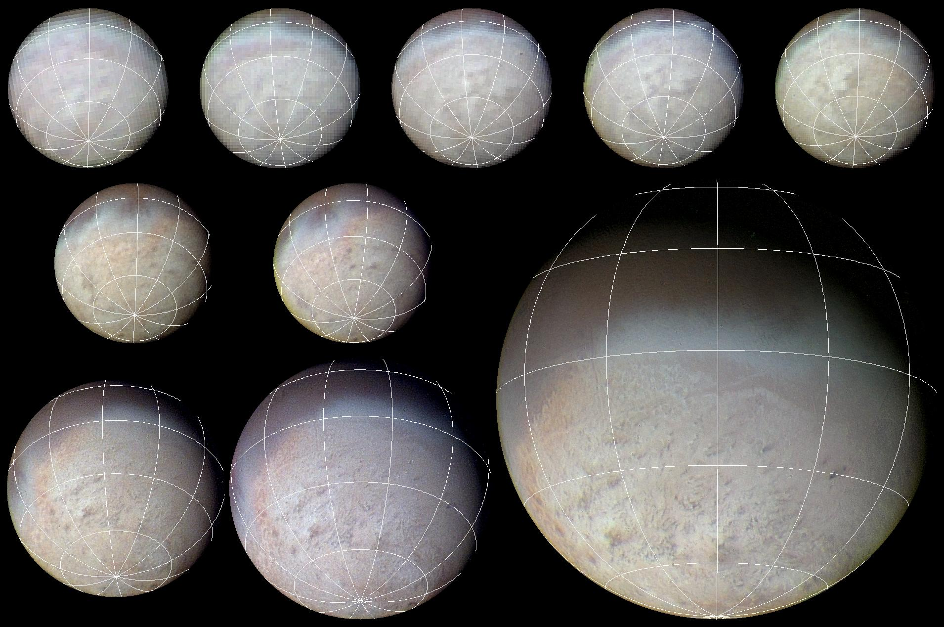 Triton Voyager 2 approach sequence with latitude-longitude grid superposed.