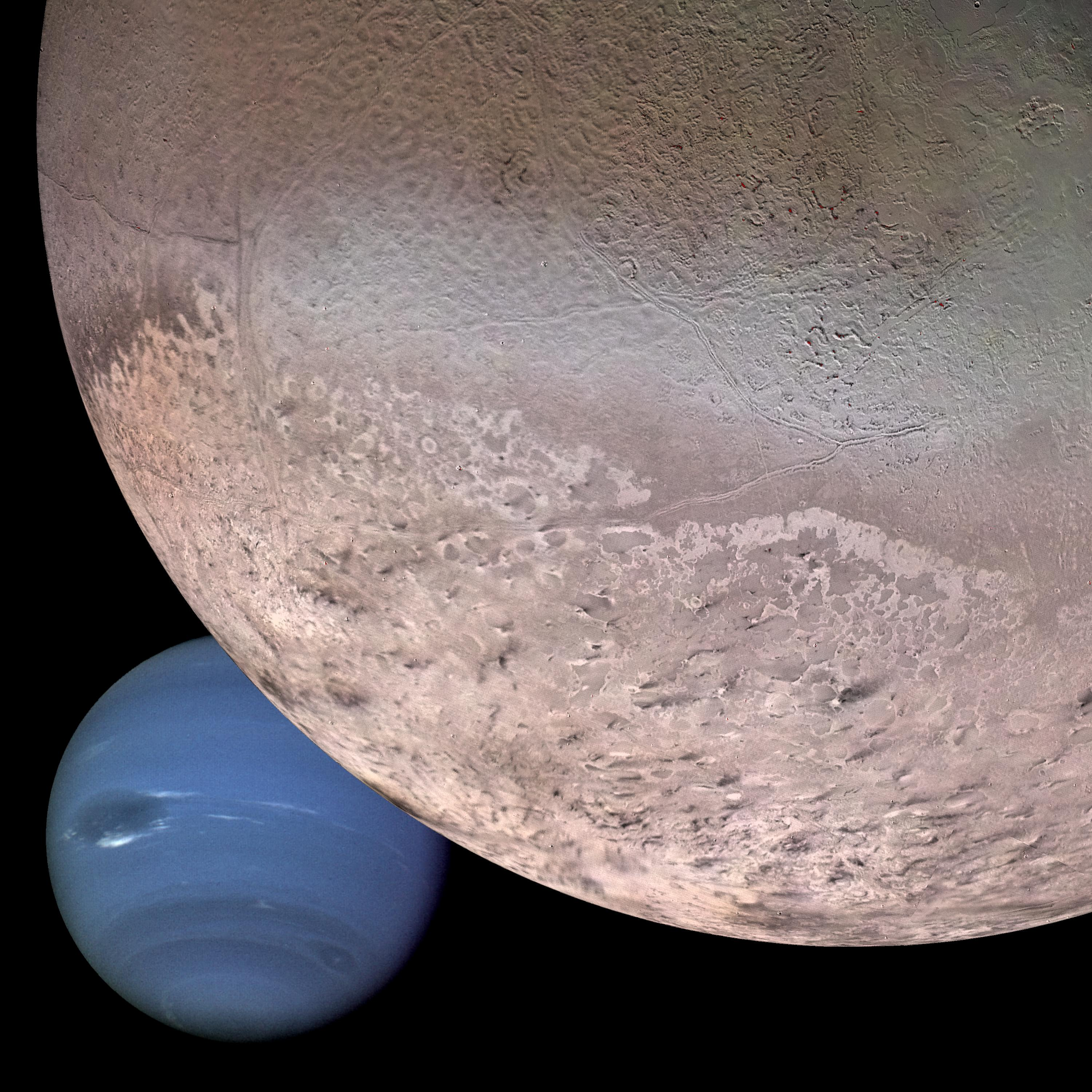 This computer generated montage shows Neptune as it would appear from a spacecraft approaching Triton, Neptune's largest moon at 2706 km (1683 mi) in diameter.