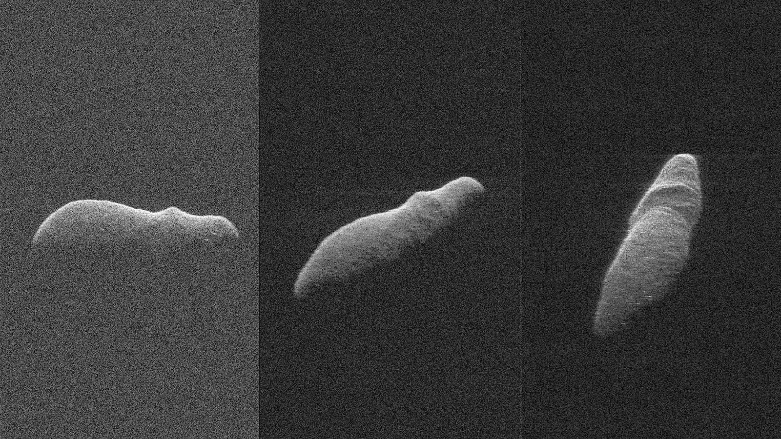 Fuzzy images of potato-shaped asteroid.