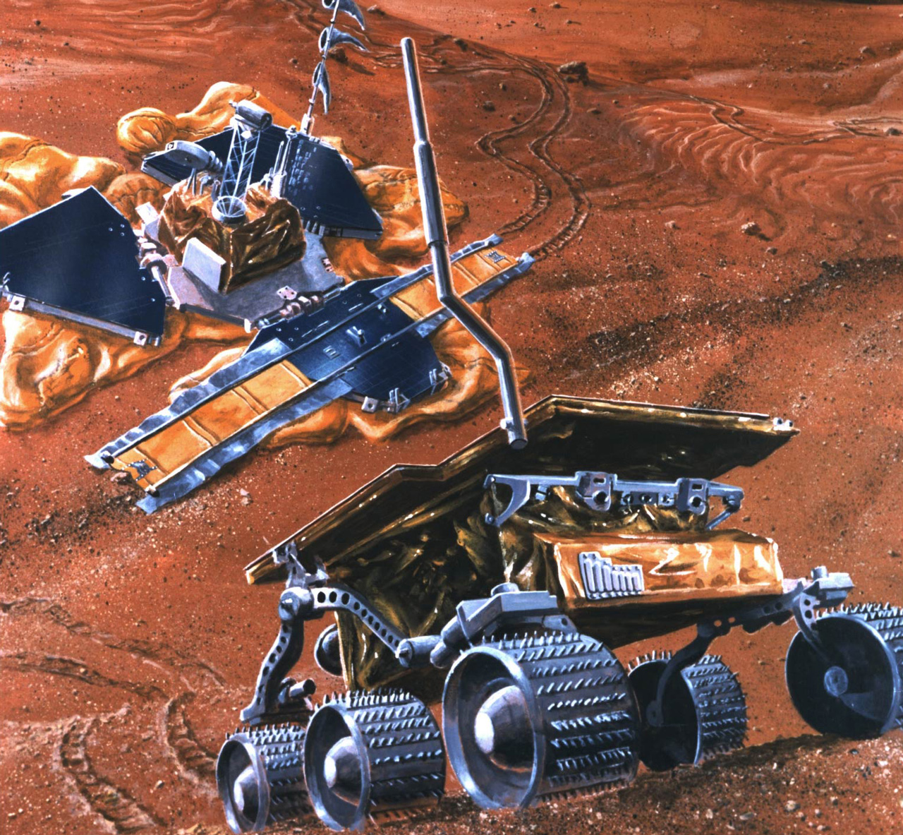 Rover climbing hill on Mars with science station behind it.