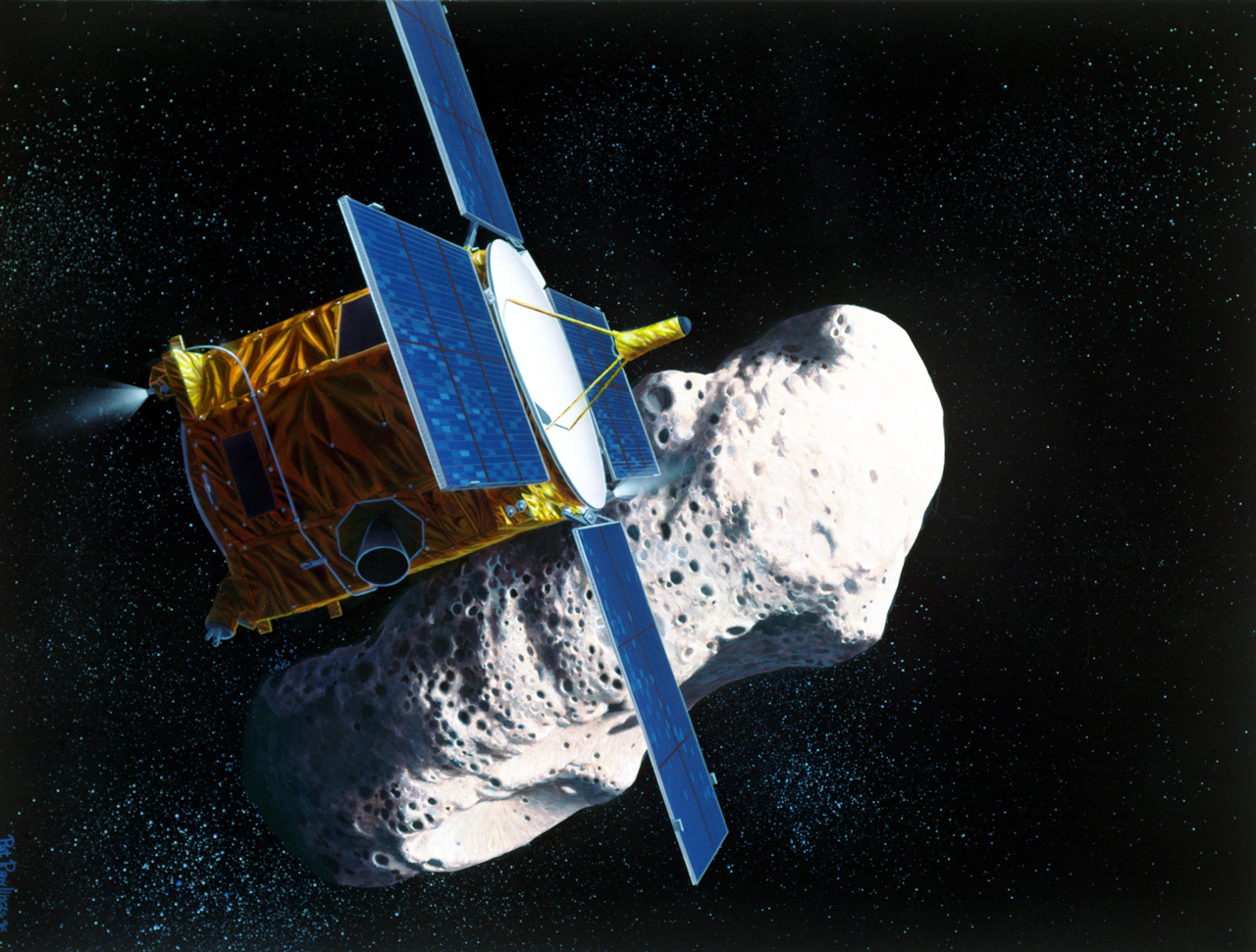 Spacecraft with asteroid in background.