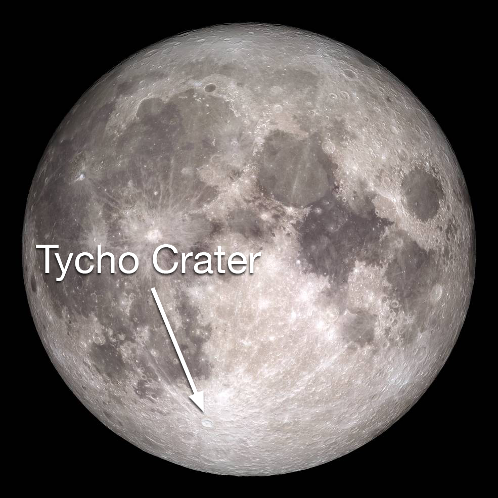 Moon with crater labeled in lower, left quadrant.