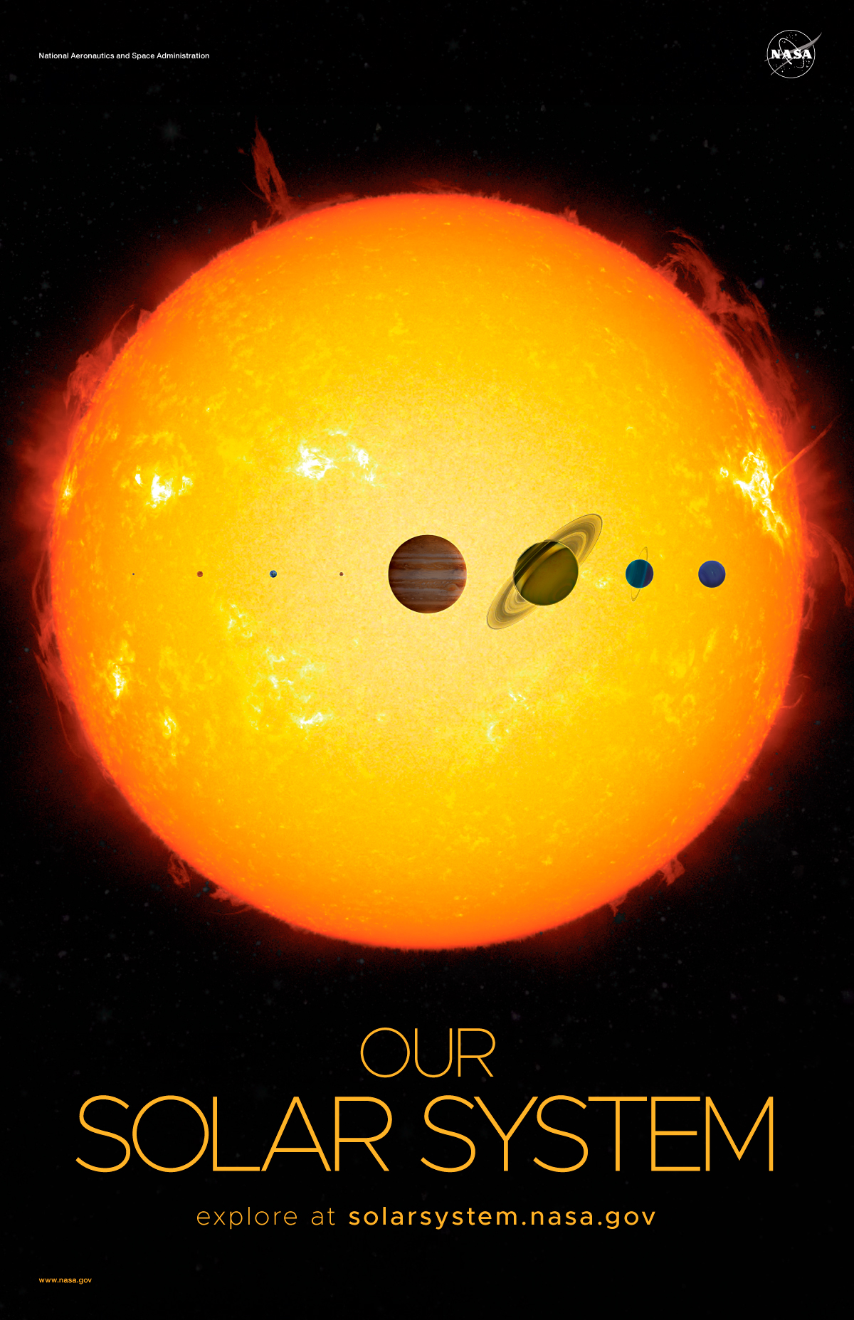 Artist's concept of eight planets in front of the Sun.