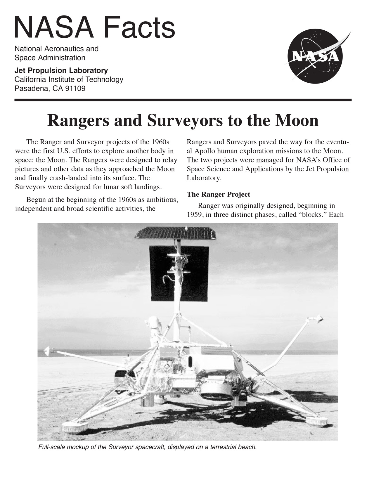 Fact sheet about two 1960s Moon mission programs.