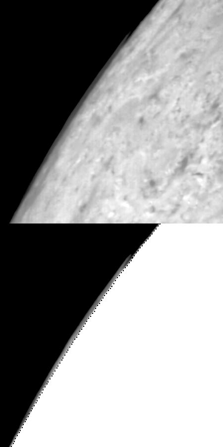 Limb clouds over Triton's south polar cap.