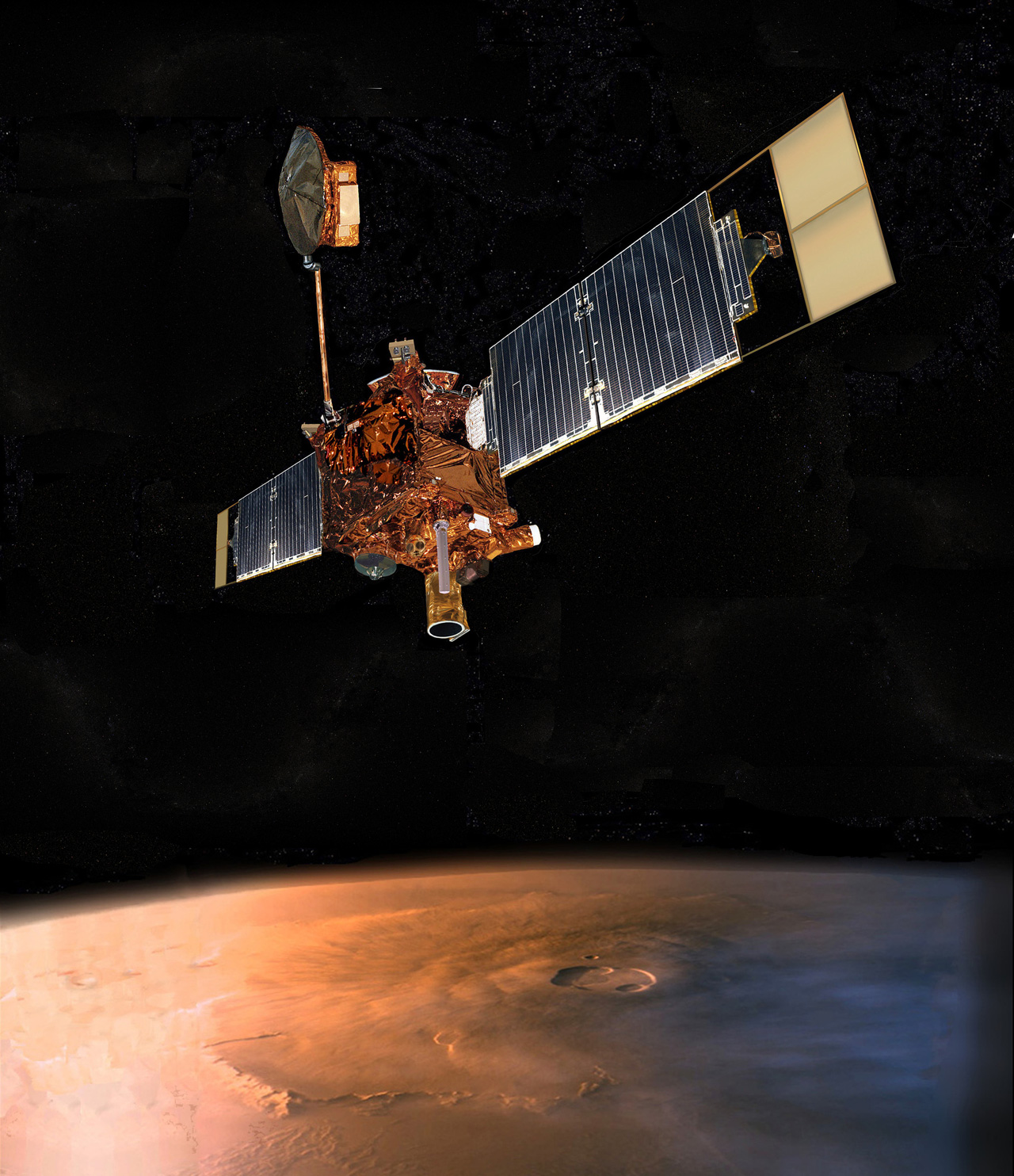 Illustration of spacecraft above Mars.