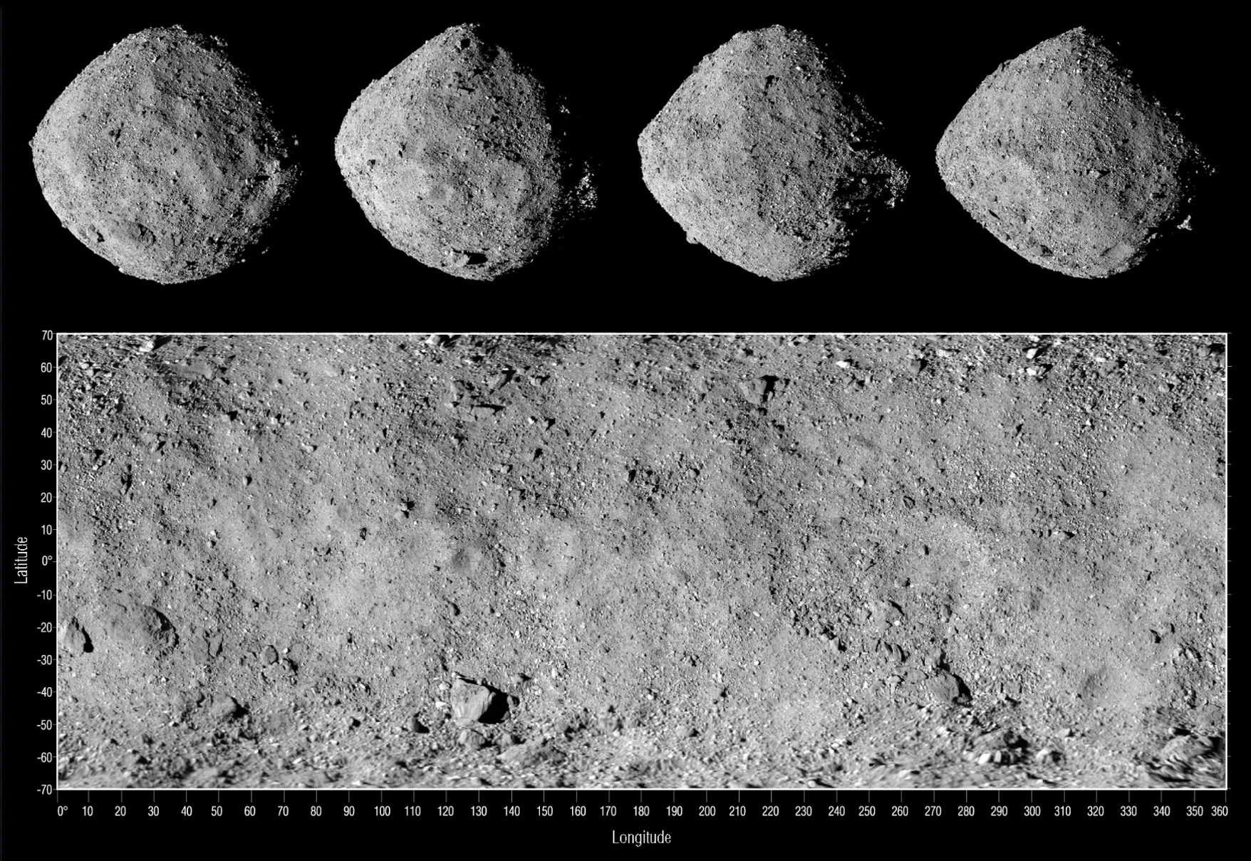 Multiple views showing the boulder-covered surface of asteroid Bennu.