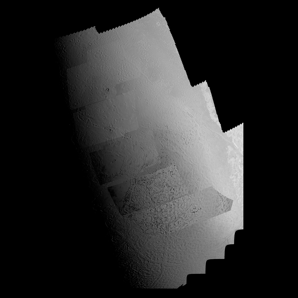 This picture of Triton is a mosaic of the highest resolution images taken by Voyager 2 on Aug. 25, 1989 from a distance of about 40,000 kilometers (24,800 miles).