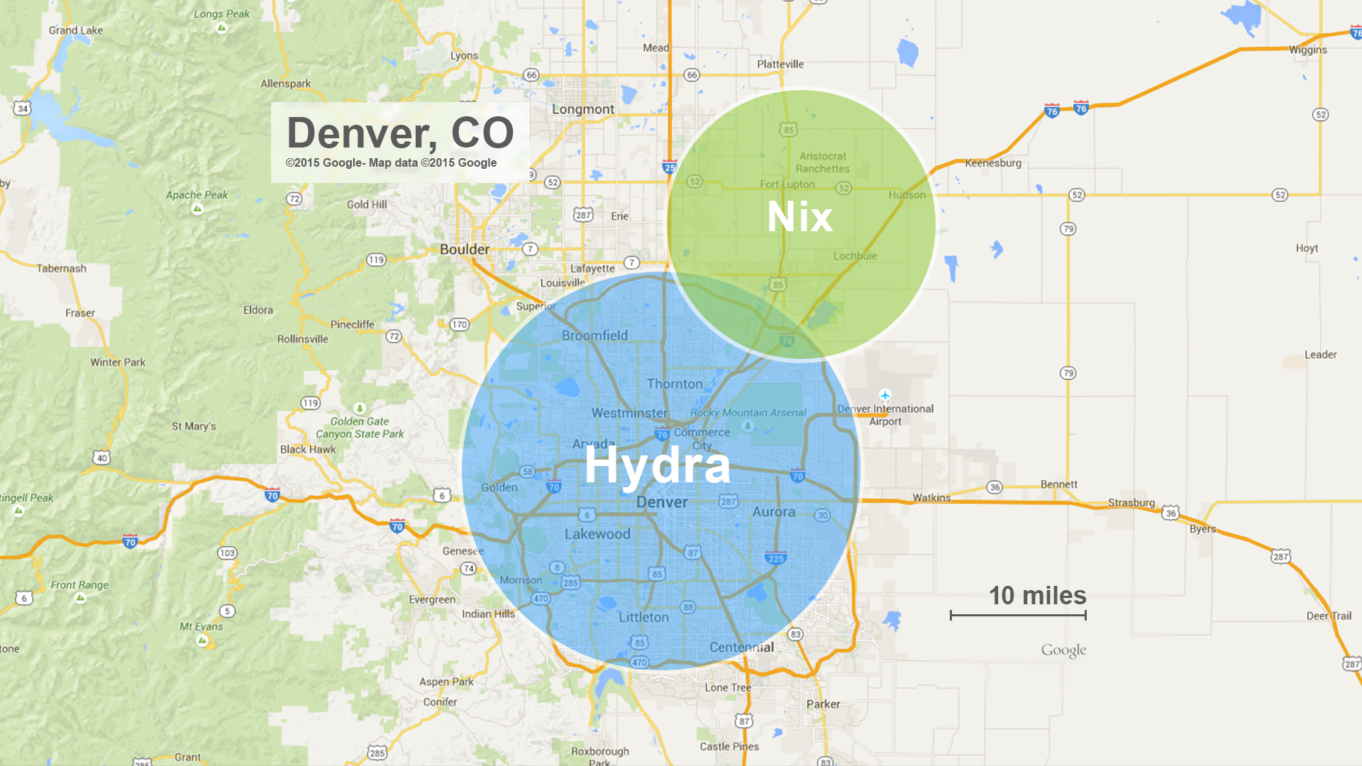 The approximate sizes of Pluto's moons Nix and Hydra compared to Denver, Colorado.