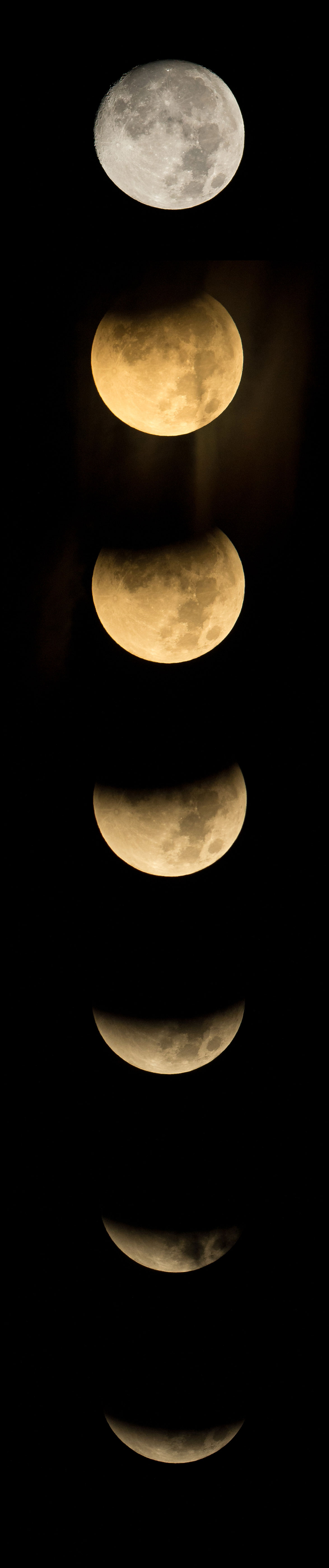 Seven images showing the shadow of Earth progressively covering more of the Moon until it is just a sliver in the sky.