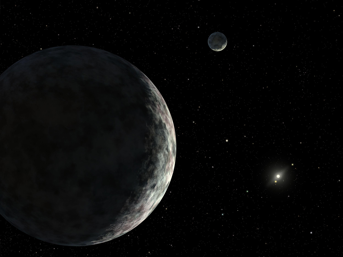 An artist's concept of the dwarf planet Eris and its moon Dysnomia.