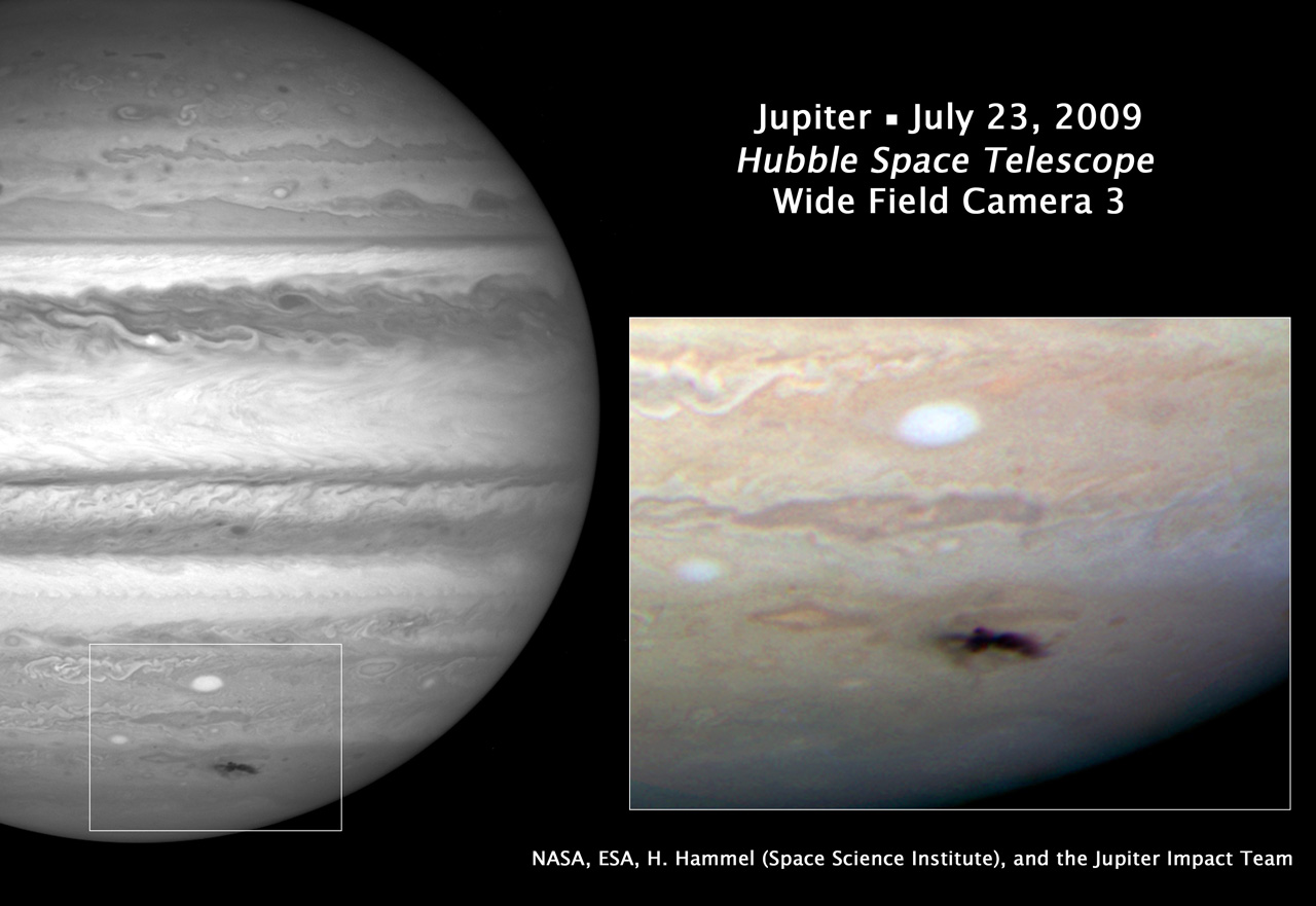 Dark bruised spot on Jupiter's clouds that is about twice as long as the United States is wide.