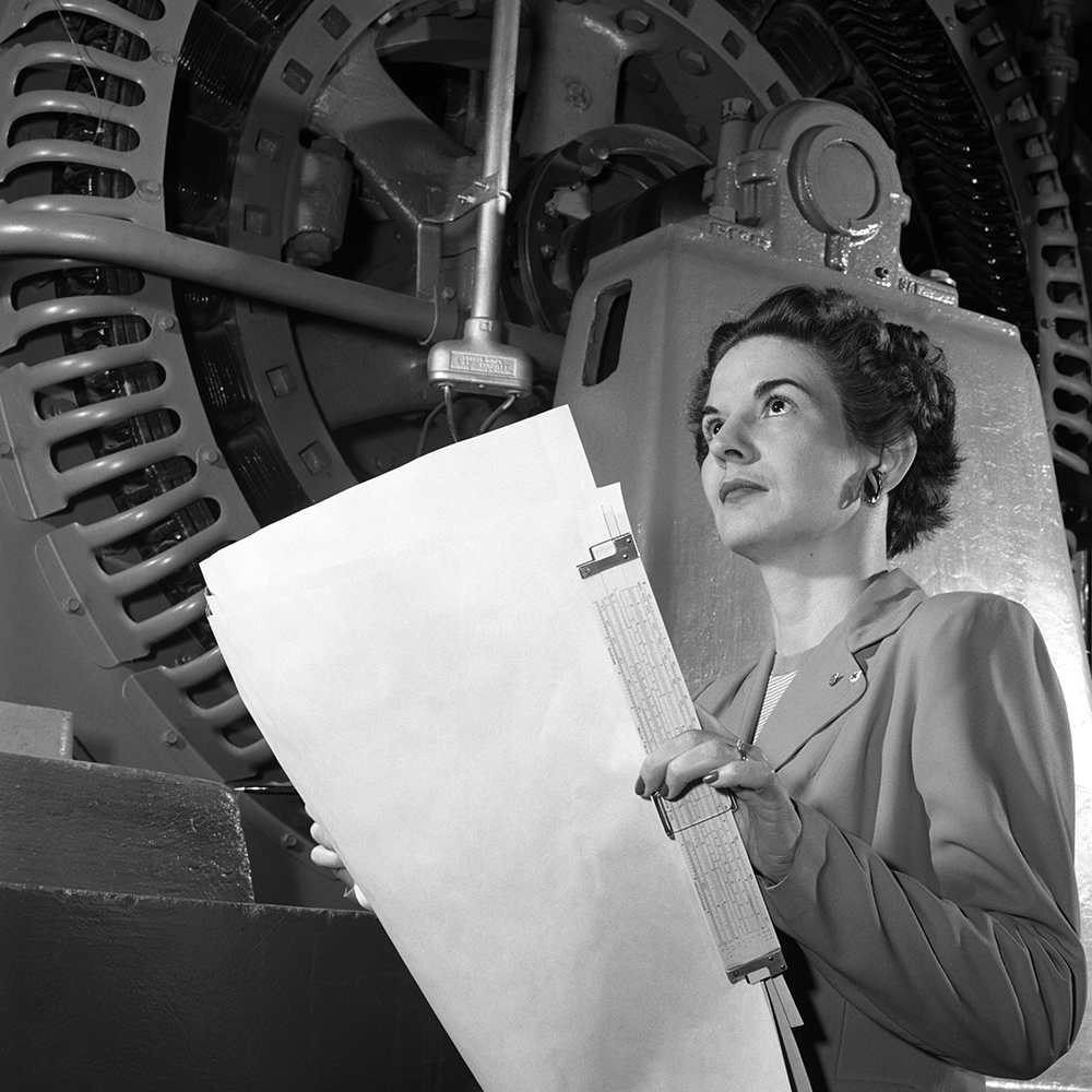 Kitty Joyner, electrical engineer, at Langley in 1952.