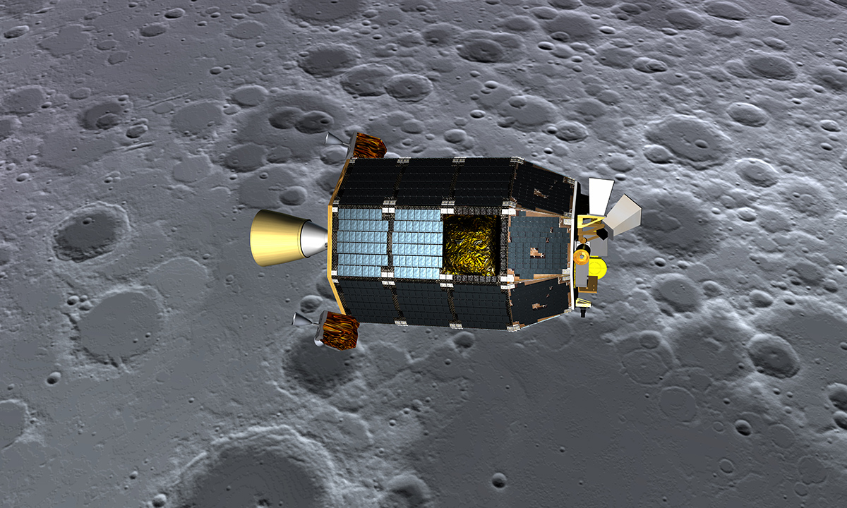 An artists's concept of NASA's Lunar Atmosphere and Dust Environment Explorer (LADEE) spacecraft seen orbiting near the surface of the moon.